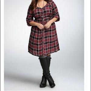 Torrid red black plaid shirt dress 1 14/16
